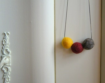 Felt necklace Textile necklace Mustard necklace Snake chain