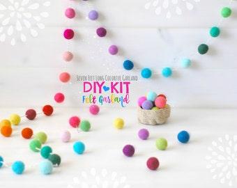 DIY Garland Kit - Felt Ball Garland - DIY Kit - Colorful Garland - Felt Pom Poms Garland - Party Decor Garland - 7' Felt Ball Garland - DIY