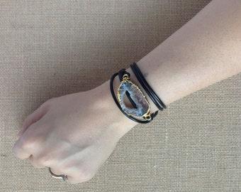 Geode + Leather Wrap Bracelet/Necklace