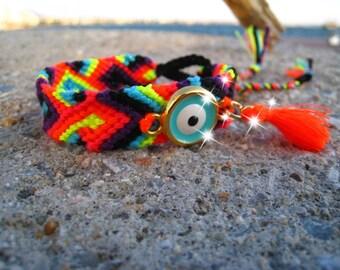 Neon Friendship Bracelet. Evil Eye #6