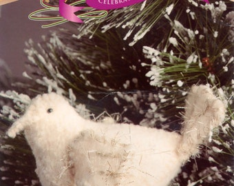 Knitting Kit:  Felted Dove - Christmas decoration - Includes instructions, patterns and yarns
