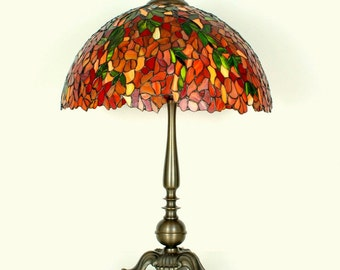 """16.5"""" Stained Glass Table Lamp - Tiffany lamp. Stained glass lamp. Stained glass lamp. Tiffany table lamps. Stained glass lamp. Laburnum."""