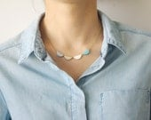 Short necklace garland white with light blu, mint, white and gold { french handmade jewel woman arty modern triangle geometric }