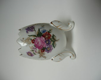Footed Japanese Egg Vase Vintage Porcelain China Pink Roses with Hand Painted Accents