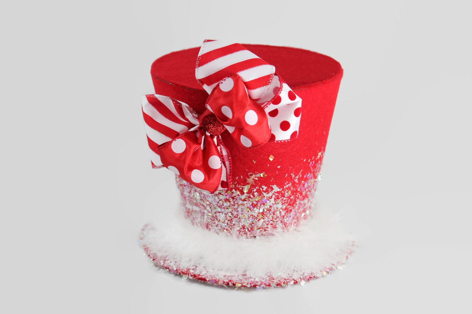 Christmas tree topper,Candy Cane tree topper. Holiday Hat decoration, Christmas decor. Polkadot ...