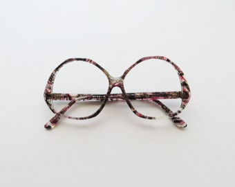 80s FRENCH Couture Glasses Mod Oversized Eyewear Marbled Mauve and Black
