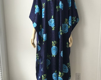 Blue rose kaftan maxi big rose print embossed oversized silky loose fitting party loungewear slip on Festival caftan plus size chest 80 ""