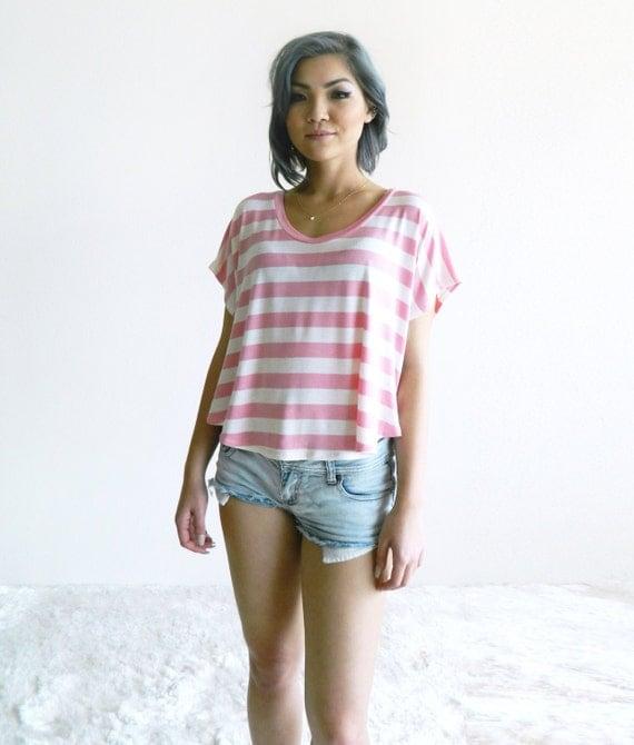 Stripe Ringer Crop Tee / Petal Pink with Ivory / Black with Ivory / Stripes / Boxy Top / Cropped Tee / Crop TShirt / Spring / Summer Fashion