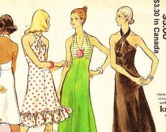 Vogue 8323 Retro 1970s Misses' Halter Evening Dress Sewing Pattern Sz 12