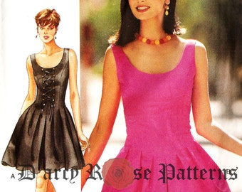 Butterick 3977 Retro 1990s Pleated Sleeveless Dress with Mock Lace Up Option Sewing Pattern Size 10-12