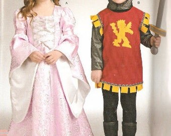 Simplicity S0337 Girl's and Boy's Medieval Costumes For Princess and Kn ight Sewing Pattern 3-8