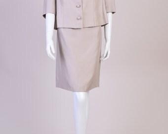 Vintage 1950s Silk Suit in Oyster Beige