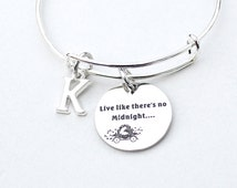 Live Like There's No Midnight, Cinderella Inspired Charm Bangle, Stainless Steel,  Fables and Fairytale, Gift For Her, Disney Inspired, ST