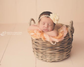 FREE SHIPPING! Headband, Cream Baby Headbands,  Newborn Headbands, Cream Flower Headband, Headbands Cream, Cream Photo Props