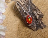 Clear Orange Ethiopian Fire Opal Necklace, Sterling Silver Necklace, 1.7Carat Facet 11.2 x 8 mm Extreme Fire  Natural AAA+++ Fire Opal