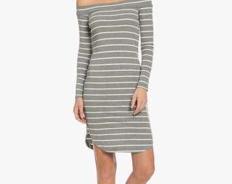 4x2 Rib Off Shoulder Dress