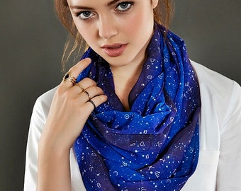 Astrology Space Galaxy Zodiac Horoscope Infinity Geek Loop Scarf Circle Scarf Gift ideas for her, Spring - Summer - Fall - Winter Session
