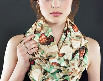 Victorian Air Balloons Pattern Infinity  scarf, Loop Scarf Circle Scarf Gift ideas for her, Spring - Summer - Fall - Winter Session