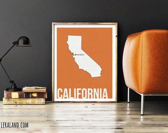 I love San Francisco, California, CA, 11x14 or 8x10, customizable city, I heart pop art poster, digital art print,  home decor state art