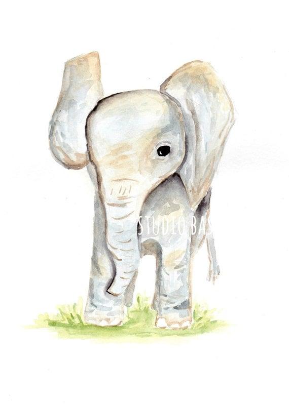 Baby Elephant - Watercolor Print for Home, Nursery, Children's Room Decor