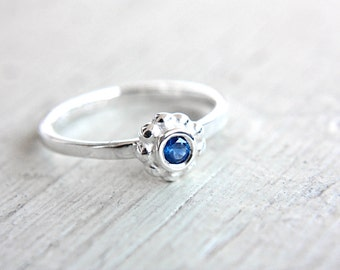 Blue Sapphire Ring Sapphire Engagement Ring Ceylon Sapphire Ring September Birthstone Ring Size 5-7 Sterling Silver Sapphire Stacking Ring