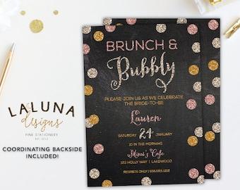 Brunch Invitation, Brunch Bridal Shower Invitation, Brunch and Bubbly Invitation, Bridal Brunch, Glitter Invitation