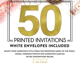 Set of 50 printed invitations / cards
