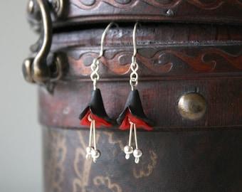Red and Black Lily Earrings - Red Black Lucite Bell Flower Beaded Sterling Silver Dangle Earrings, Handmade Jewellery by Ikuri immortelle