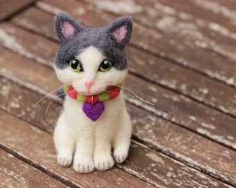 Custom Cat Portrait, Needle Felted Cat, Custom Cat Miniature, Custom Cat Sculpture, Custom Felt Cat, Cat Lover Gift, Sitting Cat, Cat Plush