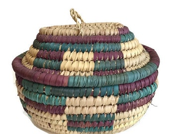 Vintage Coiled Basket Lidded Storage Sewing Basket Bohemian Decor Coiled Dyed Southwestern Basket Bin Box African Basket Moroccan Basket