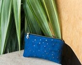 Small zip pouch - Blue Faux suede wallet, Small makeup pouch, Bronze coin purse, Metallic cosmetic bag, Vegan zip wallet, Mother's day gift
