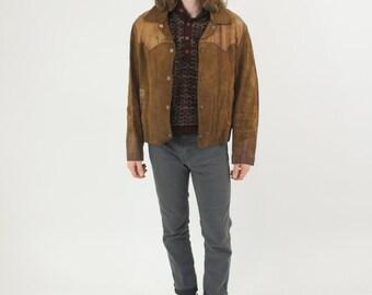 Brown Suede Leather Jacket Snap Button 60s / 70s Men's Hippie Boho Coat Size Medium Large