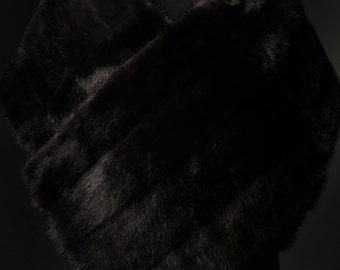 Ultimate Luxury Gift Or Wedding Bridal Formal Black Tie Accessory/Lavish Hollywood Starlet Dark Brown Mink Fur Stole/Vintage Wrap Cape Shrug