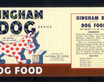 1947 Gingham Dog Food Label - So Cute When Framed