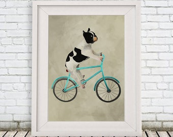 Original Bulldog Print, Frenchie Illustration Art Poster Acrylic Painting Kids Decor Drawing Dog on bicycle, bicycle print, frenchie print