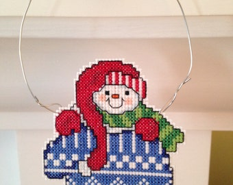 New Snowman in Mitten Christmas Cross Stitch Ornament