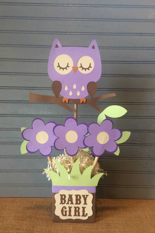 purple owl baby shower centerpiece