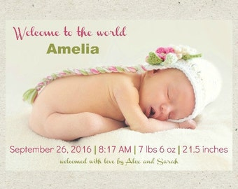 Welcome Birth Announcement - Baby Announcement - Personalized birth card - Custom birth card - digital birth announcement - girl birth card