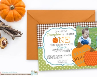 Pumpkin Birthday Invitation, Fall Birthday Invitation, First Birthday Invitation, Pumpkin Patch Invitation, Boy Birthday Invitation