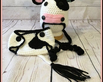 Crochet Baby Moo Cow Hat and Diaper Cover/Photo Prop