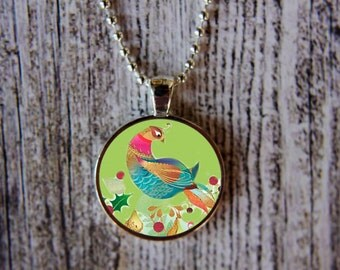 Partridge in a Pear Tree Necklace, Twelve Days of Christmas Necklace, Christmas Jewelry, Christmas Necklace, Partridge Necklace