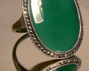 Art Deco Green Chrysoprase Sterling Silver Marcasites Ring 1920s Size 4-3/4