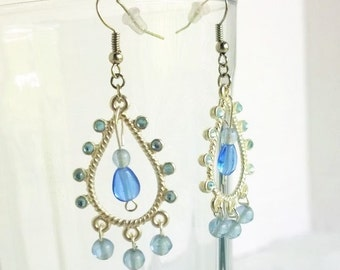 Light Blue Raindrop Chandelier Earrings