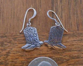Cowboy Boot Earrings, Vintage Silver Cowgirl Boot Earrings, Cowgirl Earrings, Southwest Earrings, Western Earrings,