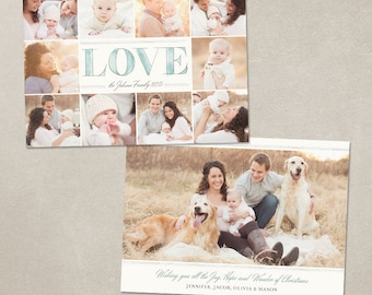 Holiday Christmas Photo Card Template - Photoshop template for photographers - 5x7 Flat card - Watercolor Love CC087 - INSTANT DOWNLOAD