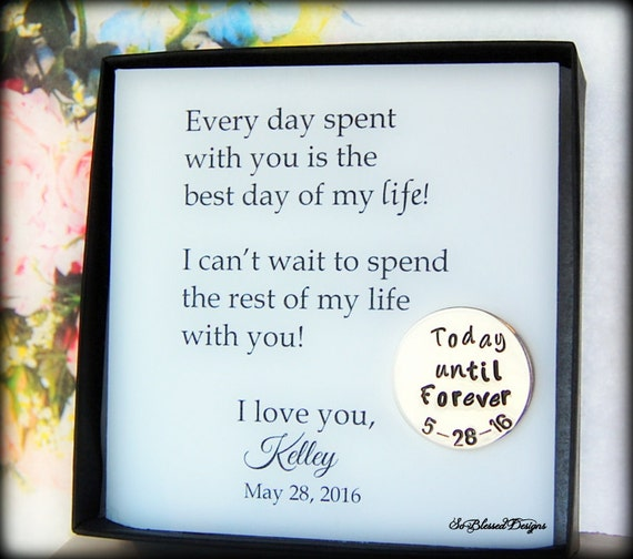 Wedding Day Gift to Groom from Bride, Wedding date coin, Today until ...