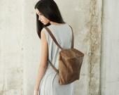 Sale 30% Off Leather Backpack in Safari Brown, Messenger Bag, School Bag, Leather Bag