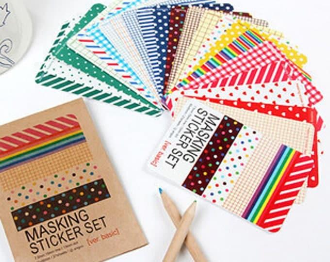 SALE Craft Tape Sticker Set - 27 pcs - Scrapbook Planner Agenda Masking Decorative Washi Sticker Decorations