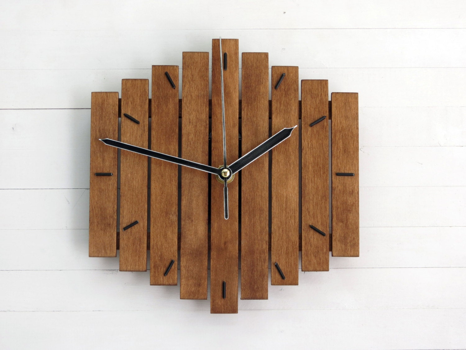 Wood wall clock romb i wooden clock geometric clock by paladim - Wooden wall design ...