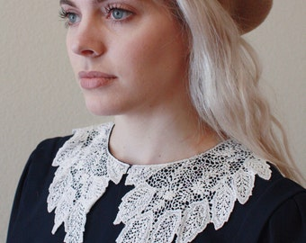 Precious Navy Dress with Lace Collar